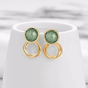 BOGO 50% off Gold Green Drop Earrings